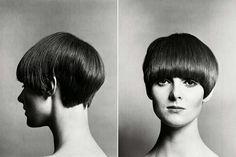 Mary Quant com corte de cabelo curto de cinco pontas.