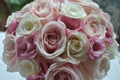 Pink Lisianthus, Pink Roses, Pastel Pink Roses, White Roses Wedding Bouquet