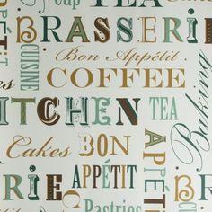 Tapeta Galerie Fresh Kitchen 5 FK34412  - tapeta w napisy o tematyce kuchennej. Idealna na ścianę akcentową w nowoczesnej kuchni.