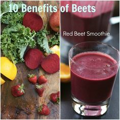 Red Beet Smoothie & 10 Benefits of Beets | Beautiful and delicious. Left out the orange to keep the sugar content a little lower. Love that it uses raw beets.