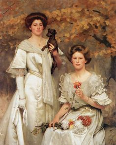 Hilda and Margaret, daughters of Professor Sir Edward Poulton, Thomas Cooper Gotch (British, William Blake, William Morris, Dante Gabriel Rossetti, Woman Painting, Figure Painting, John Everett Millais, Pre Raphaelite Brotherhood, Victorian Art, Victorian Paintings