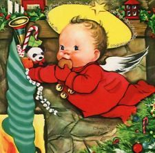 Vintage Christmas Capers Greeting Card Charlot Byj Cherub eating a cookie EB6030