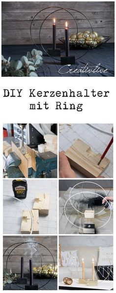 DIY candle holder RING - CreativLIVE - You cannot avoid wire frame objects this winter season. Everywhere you can see the puristic candle - Diy Candle Holders, Diy Candles, Ring Crafts, Diy And Crafts, Ideas Geniales, Simple Shapes, Wall Hanger, Wood And Metal, Christmas Crafts