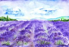 art, watercolor, lavender, field, flower, violet, landscape, france, provence, sky, skyline, cloud, tree, mountain, wood, forest, summer, plant, petal, blossom, green, blue, purple, turquoise, cyan, object, collection, drop, nature, natural, botanical, flora, abstract, graphic, decoration, beauty, beautiful, color, colorful, illustration, design, artistic, drawing, hand, drawn, creative, sketch, artwork, paint, aquarelle