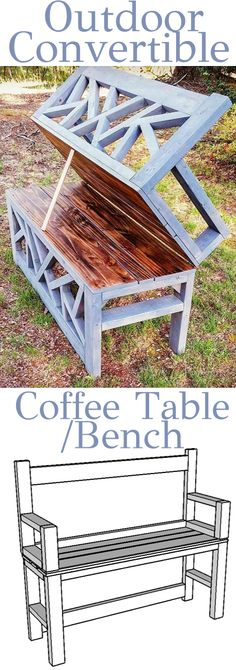 DIY Outdoor Bench Coffee Table - Convertible - Woodworking Plans #woodworkingprojects