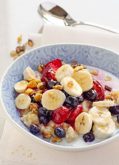 Breakfast Quinoa in a Slow Cooker is a healthy breakfast recipe with coconut milk, nuts and fruit. Wake up to a warm bowl of quinoa porridge.