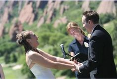 Quintessential Colorado wedding ceremony in front of our breathtaking Red Rocks (officiated by Colorado wedding officiant Jenn Badding)