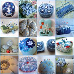 Serie de alfileteros en tonos de azul, hechos en fieltro y tela.