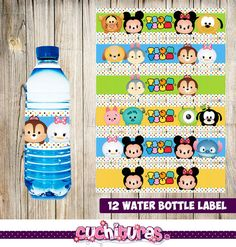 80% OFF SALE 12 Tsum Tsum Water Bottle Label por TusCuchituras