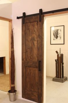 "Industrial Barn Door Hardware: Convert current door to a ""barn door"". Perfect for small awkward spaces like at the top of our basement stairs."