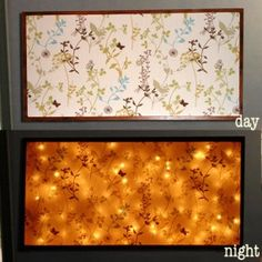 What a brilliant idea - but it must be easy to do yourself, battery powered fairy lights behind a canvas? Lovely.