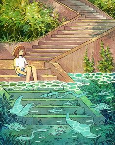 house by the ocean Pretty Art, Cute Art, Aesthetic Art, Aesthetic Anime, Character Art, Character Design, Wallpaper Animes, Japon Illustration, Poses References