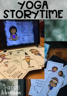 Yoga for kids from the Trapped Librarian. Engage your Pre-K, kindergarten, and first grade students in an active and calming activity with these yoga stories and poses. Click for a fun storytime resource for your library or classroom! #yogaforkids