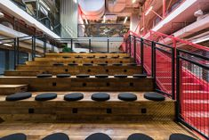 The Brain Embassy: An Inspiring Co-Working Space in Warsaw - Design Milk Tiered Seating, Co Working, Space Architecture, Coworking Space, Commercial Design, Studio, Wine Rack, Brain, Stairs