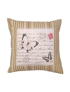 Postcard Butterfly Cushion Natural | Ponden Homes
