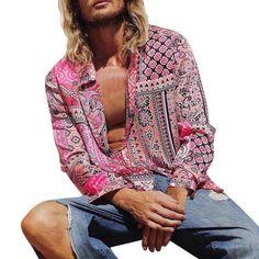 Sexy Shirts, Loose Shirts, Casual Shirts For Men, Printed Shirts, Long Sleeve Shirts, Men Casual, Printed Blouse, Mens Vintage Shirts, Vintage Men