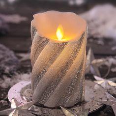 Sølvfarvet LED-vokslys Twinkle
