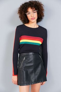 Cooperative Rainbow Striped Pullover Sweater - Urban Outfitters