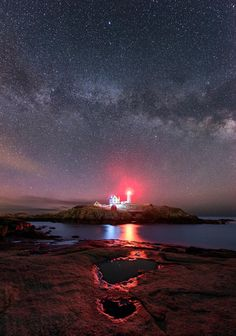 Nubble Night is a photograph by Michael Blanchette. located on Cape Neddick in York, Maine. The lighthouse has been in operation since 1879, when it was built to protect sailors from the hazards of a rocky Maine coast. It has changed hands several times over its service life. It was initially called Knubble Lighthouse, and then renamed Cape Neddick Lightstation while in the care of the US Coast Guard. Source fineartamerica.com