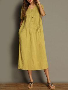 Vintage Pure Color V-neck Pocket Short Sleeve Women Dresses