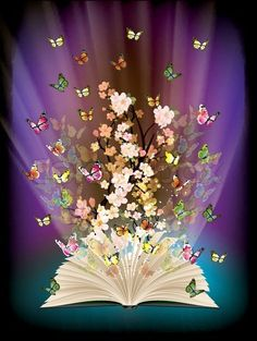 Vector of 'open book with butterflies flying from it', – Best Books Beautiful Gif, Beautiful Flowers, Open Book Tattoo, Open Book Drawing, Book Wallpaper, Butterflies Flying, Reading Art, Book Aesthetic, Belle Photo