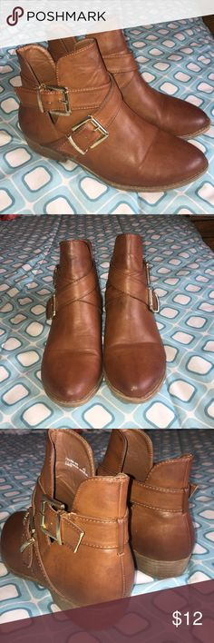 Brown ankle boots Brown leather with gold accents. Used 3 times if that. Cute for any season! Dress up and casual! Clean and comfortable! Bamboo Shoes Ankle Boots & Booties