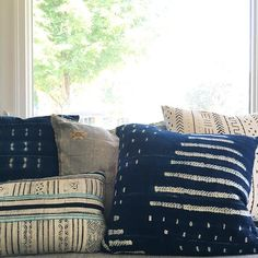 Pillow game on point with some vintage indigo and mudcloth!