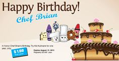 """In honor of Chef Brian's birthday, from July 23 through August 31, everyone who signs up for a family membership through the Kid Kulinaire website and enters the coupon code """"BIRTHDAY"""" will receive 12 months full access (a $23.88 value) to lessons, recipes, fitness, games, and more!  Click on the picture to get a membership today!"""