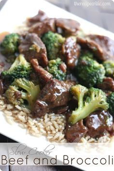 Ingredients 1 lb. boneless, beef chuck roast, sliced into thin strips 1 cup beef consumme or beef broth 1/2 cup low sodium soy sauce 1/3 cup dark brown sugar 1 tbsp. sesame oil 3 garlic cloves minced 2 tbsp cornstarch Frozen Broccoli Florets (I used one bag) White or brown rice, cooke