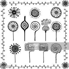 Vector Art : floral doodles ornaments