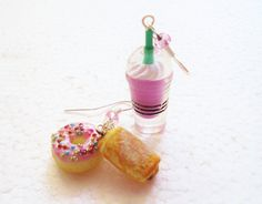 Frappe And Doughnut Earrings. Polymer clay. by GiraffesKiss
