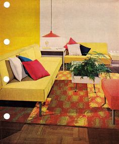 Yellow room, Mid Century Modern.1956 edition, Better Homes & Gardens Decorating Book.