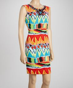 Another great find on #zulily! Orange & Blue Embellished Sheath Dress by Voir Voir #zulilyfinds