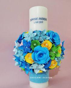 Este posibil ca imaginea să conţină: lumânări Baptism Candle, Origami Design, Yellow, Blue Green, Paper Flowers, Candles, Photo And Video, Pink, Handmade