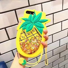 Cartoon 3D Liquid Glitter Shiny Pineapple Phone Case Cover For Iphone 6/7/8 Plus