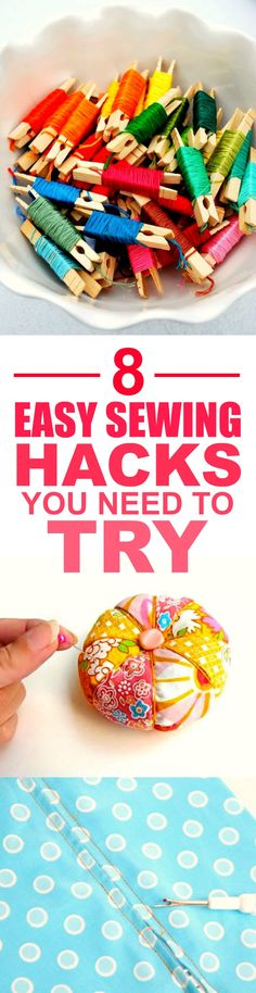 These 8 super easy sewing hacks and tips are THE BEST! I'm so happy I found this AMAZING post! I feel like I can be super crafty now with these great tricks! Definitely pinning for later!