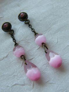 Light Pink Cats Eye Dangle Earrings by LauraBijoux on Etsy