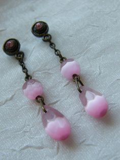 Light Pink Cats Eye Dangle Earrings by LauraBijoux on Etsy
