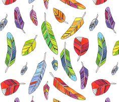 Spike's Feathers fabric by jenimp on Spoonflower - custom fabric Textile Patterns, Cool Patterns, Scandinavian Garden, Fabric Birds, Fabric Feathers, Australia Animals, Bird Wings, Art Clipart, Japanese Prints
