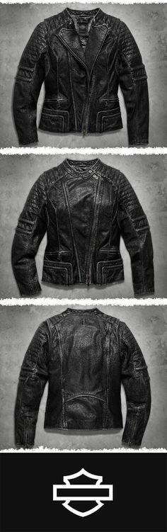 Craving an edgy street look with high-level functionality? | Harley-Davidson Women's Washed Leather Biker Jacket