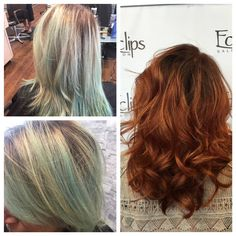From mint green to a copper ombré with a chocolate brown root!   Reserve with Chantal for your own amazing before and after. (703) 327-9408 or visit