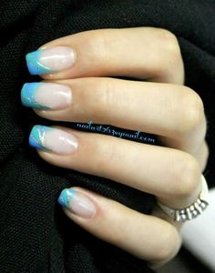 Blue French nails