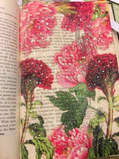 Tammy's paper napkin journal page. I could dive right into that glitter flower bed! LOVE!