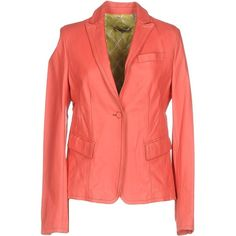 D.r.o.w.s. Blazer (530 CAD) ❤ liked on Polyvore featuring outerwear, jackets, blazers, coral, multi pocket jacket, leather blazer jacket, red leather jacket, leather blazer and leather jackets