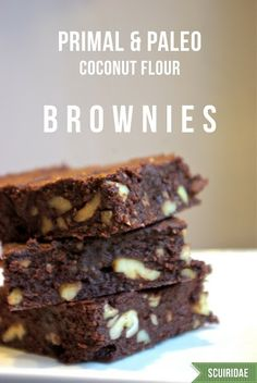 GF Coconut Flour Brownies  ***   6 ½ oz good dark chocolate (72%+), 4 1/2 oz butter (one stick + one tablespoon), ¾ cup granulated sweetener of choice, 1/2 t vanilla extract, 2 eggs, 6 T coconut flour, 1/2 t sea salt, 1 c chopped walnuts/mix-ins
