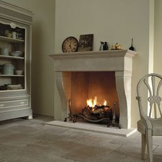 The Marseilles fireplace Stone Mantle, Stone Fireplace Surround, Fire Surround, Stone Fireplaces, Wood Burner Fireplace, Home Fireplace, Fireplace Mantels, Mantel Shelf, Hearth And Home