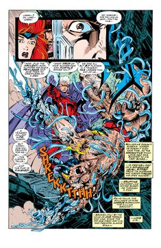 """From """"X-Men"""" 25 (I didn't say """"Uncanny""""): Magneto (BOOM) debones (BOOM) Wolverine (BOOM). It's not a pretty picture (you thank Andy Kubert for making it as pretty as possible! Marvel Comic Universe, Marvel X, Comics Universe, Marvel Heroes, Marvel Characters, Comic Book Pages, Comic Page, Marvel Universe, Anime Comics"""