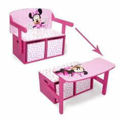 Disney Minnie Mouse desk and bench Kids Room Furniture, Small Furniture, Woodworking For Kids, Kids Storage, Kid Table, Kids Corner, Minnie Mouse, Diy For Kids, Kids Bedroom