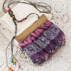 Cute Boho-Style Beaded Cotton Straw Fashion Handbag 5 Colors