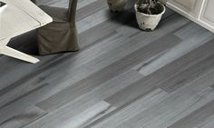 Keros Vermont Anthracite 6 in. x 36 in. Porcelain Wood Look Tile
